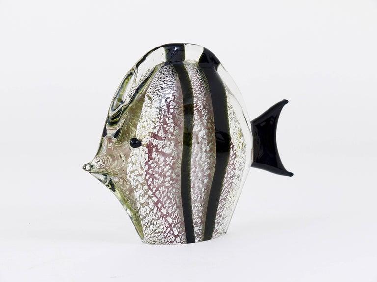 Italian Signed Mario Badioli Handblown Murano Glass Fish Sculpture, Italy, 1970s For Sale