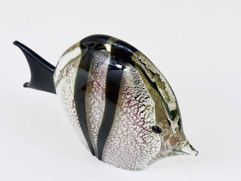 Signed Mario Badioli Handblown Murano Glass Fish Sculpture, Italy, 1970s For Sale 1