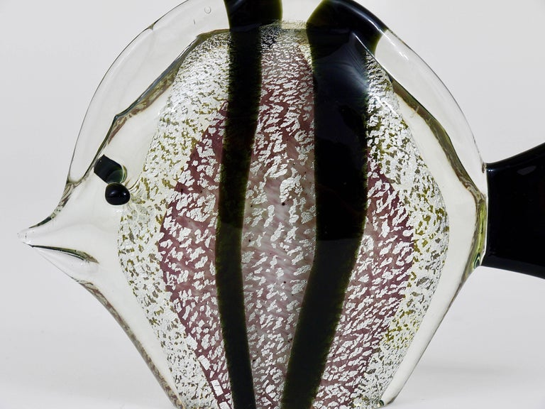 Signed Mario Badioli Handblown Murano Glass Fish Sculpture, Italy, 1970s In Excellent Condition For Sale In Vienna, AT