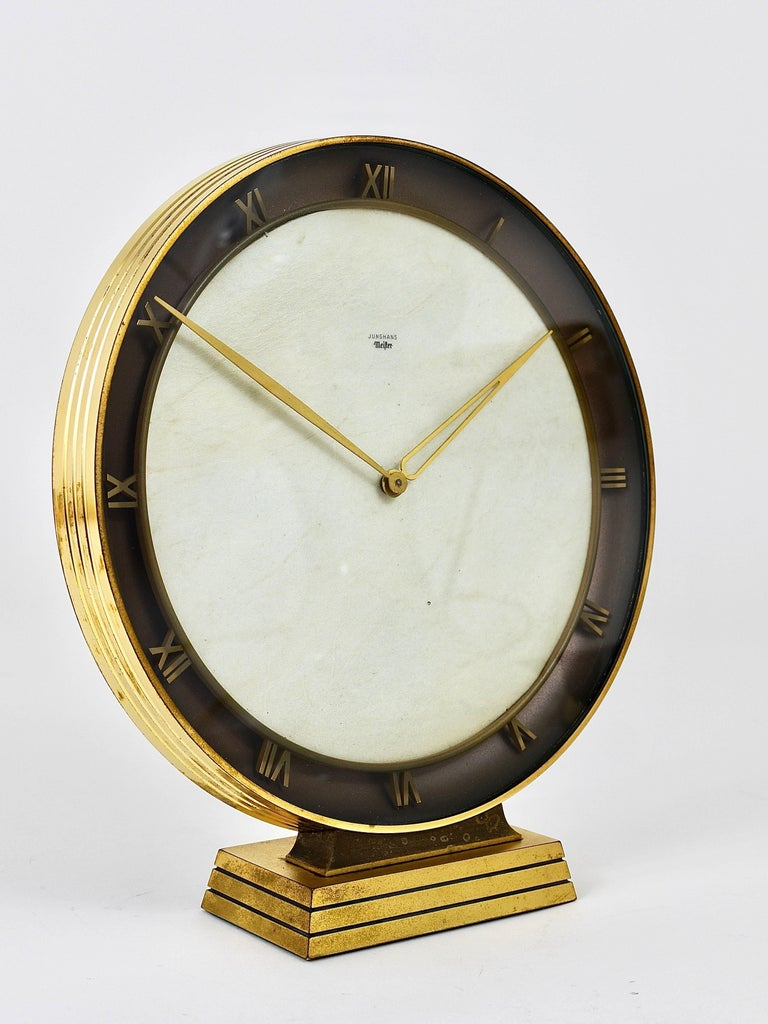 Junghans Meister Art Deco Brass Table Clock Germany