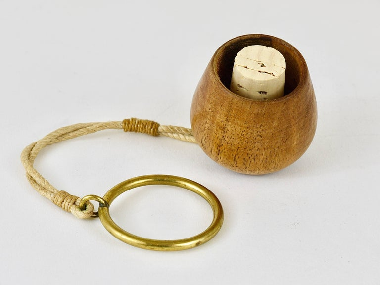 Wood Carl Auböck Walnut and Brass Bottle Stopper, Austria, 1950s For Sale