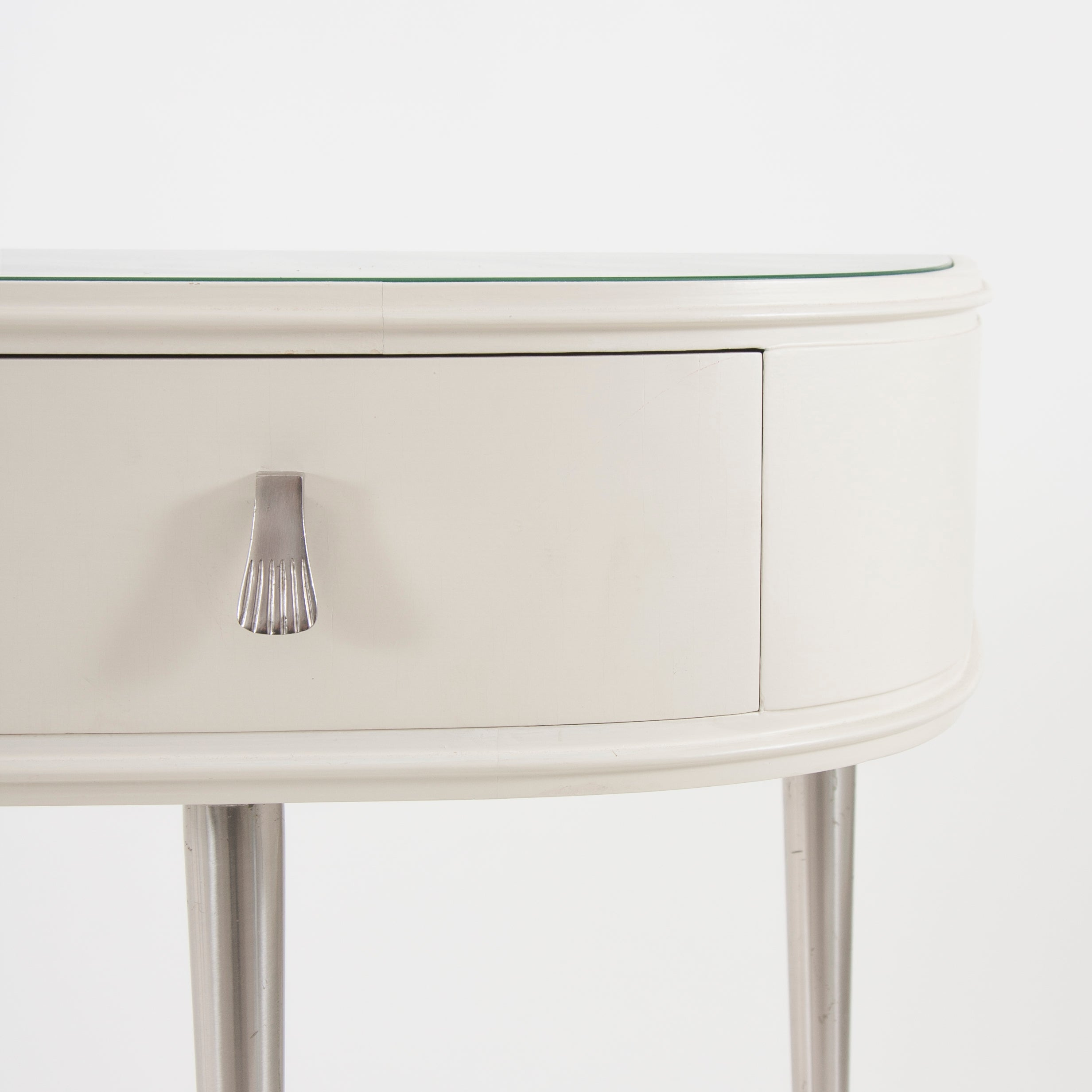 White Midcentury Console Table Vanity Table, Italy, 1950S For Sale