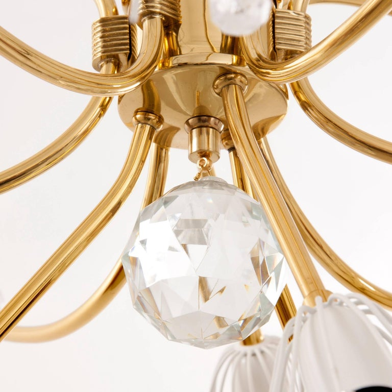 Mid-Century Modern Large Emil Stejnar Brass and Crystals Chandelier, Nikoll, Austria, 1950s For Sale