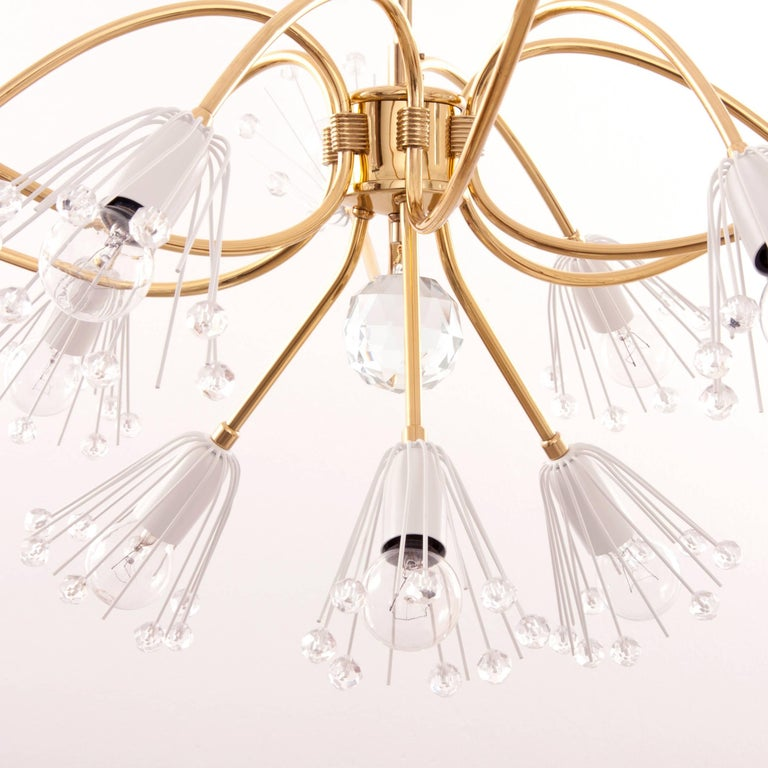 Large Emil Stejnar Brass and Crystals Chandelier, Nikoll, Austria, 1950s For Sale 2