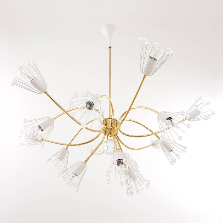 Large Emil Stejnar Brass and Crystals Chandelier, Nikoll, Austria, 1950s For Sale 4