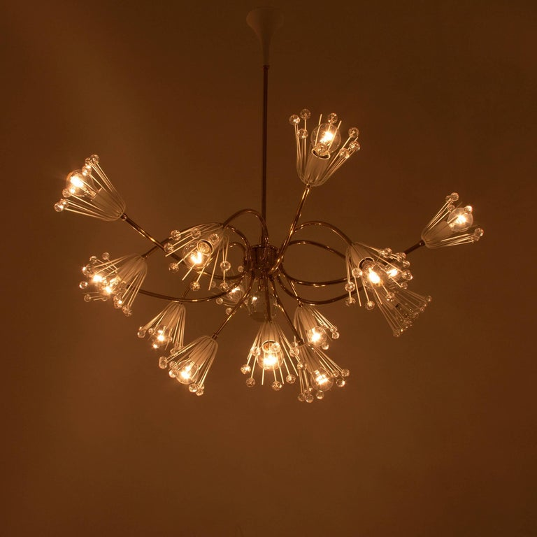 Large Emil Stejnar Brass and Crystals Chandelier, Nikoll, Austria, 1950s For Sale 1