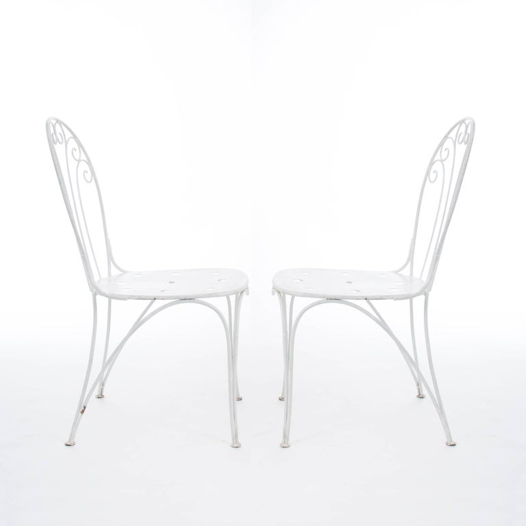White Midcentury Garden Bench, Table and Chairs, Iron, Karasek, Austria, 1950s In Good Condition For Sale In Vienna, AT