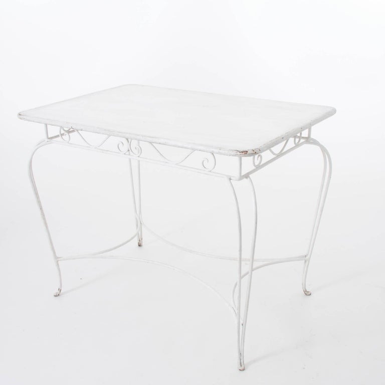 White Midcentury Garden Bench, Table and Chairs, Iron, Karasek, Austria, 1950s For Sale 3