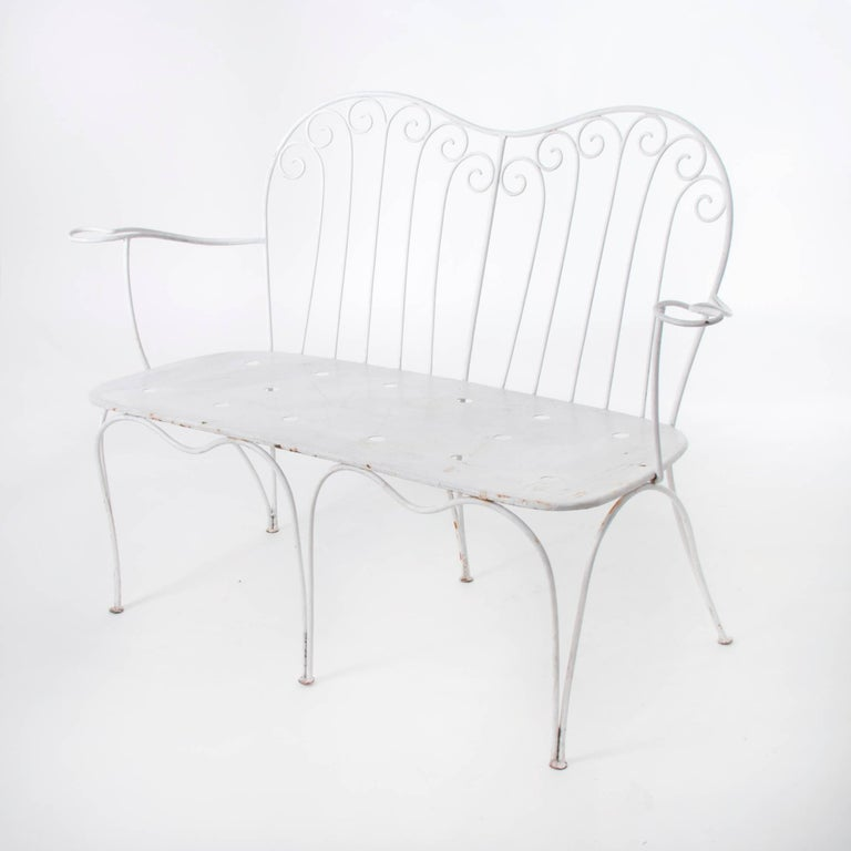 White Midcentury Garden Bench, Table and Chairs, Iron, Karasek, Austria, 1950s For Sale 1