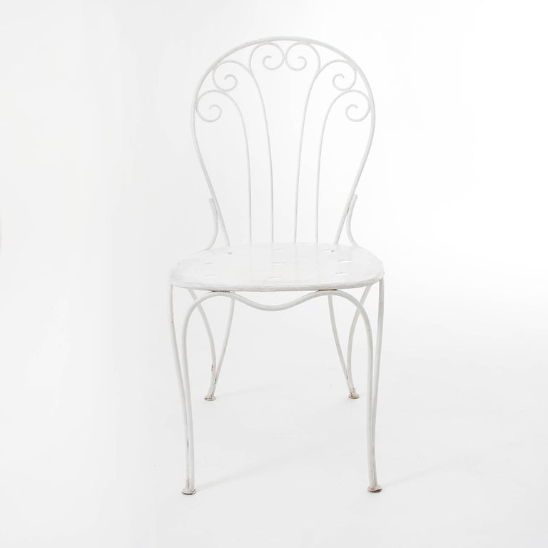 Mid-Century Modern White Midcentury Garden Bench, Table and Chairs, Iron, Karasek, Austria, 1950s For Sale