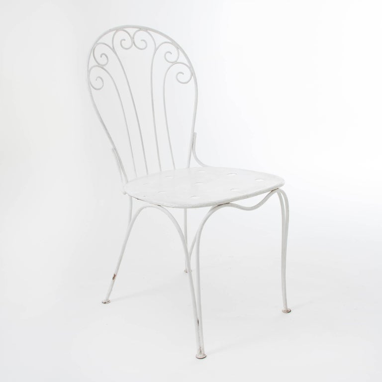 Austrian White Midcentury Garden Bench, Table and Chairs, Iron, Karasek, Austria, 1950s For Sale