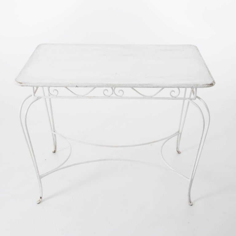 White Midcentury Garden Bench, Table and Chairs, Iron, Karasek, Austria, 1950s For Sale 2