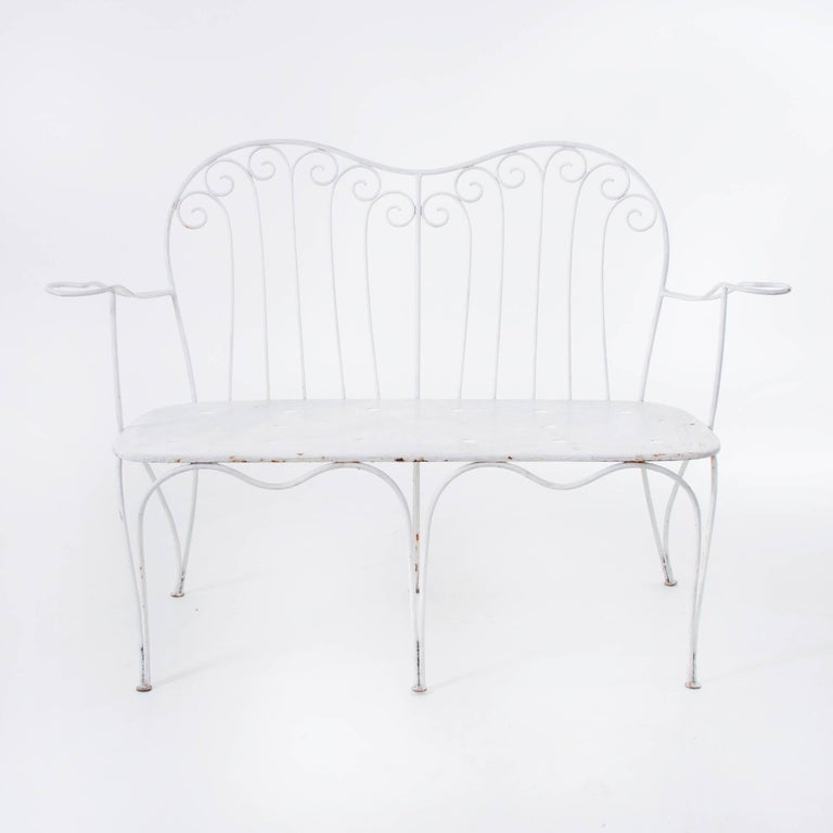 20th Century White Midcentury Garden Bench, Table and Chairs, Iron, Karasek, Austria, 1950s For Sale