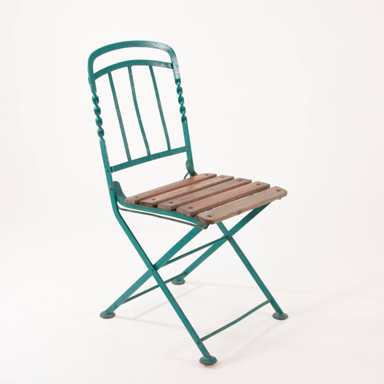 Art Nouveau Secessionist Folding Metal Bench and Eight Chairs ...