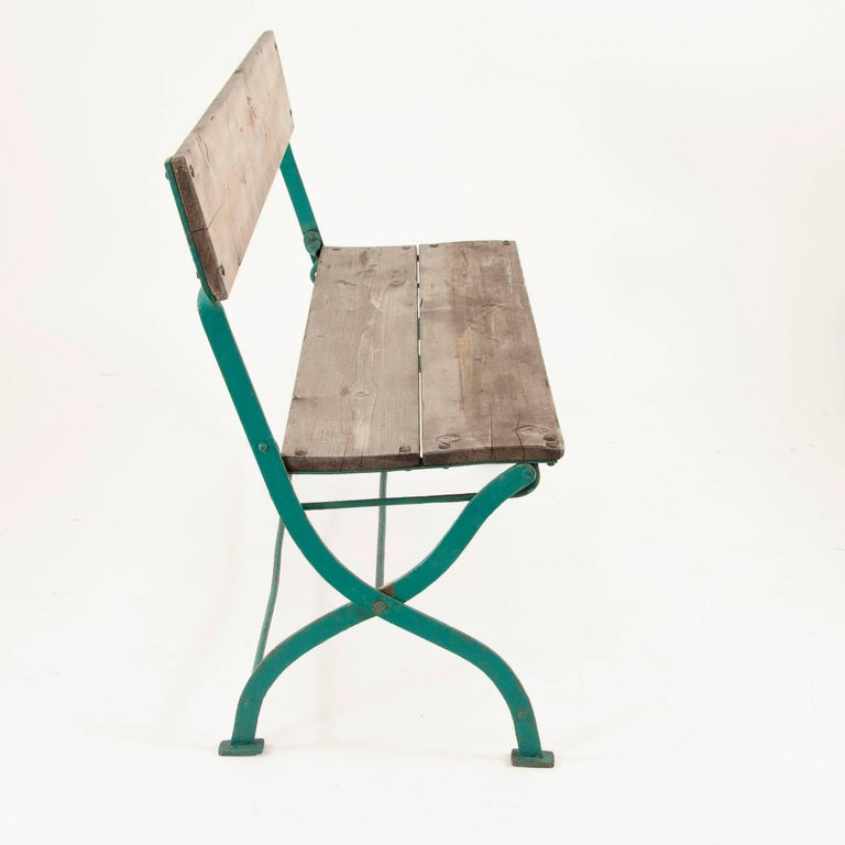 Art Nouveau Secessionist Folding Metal Bench and Eight Chairs, Vienna, 1900s For Sale 2