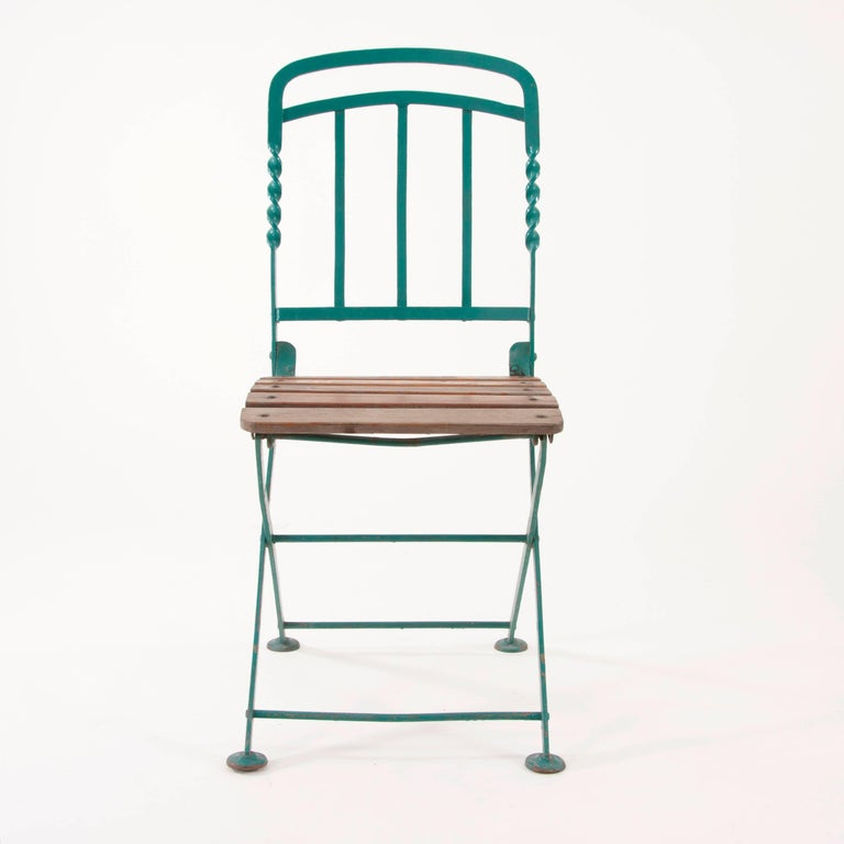 Vienna Secession Art Nouveau Secessionist Folding Metal Bench and Eight Chairs, Vienna, 1900s For Sale