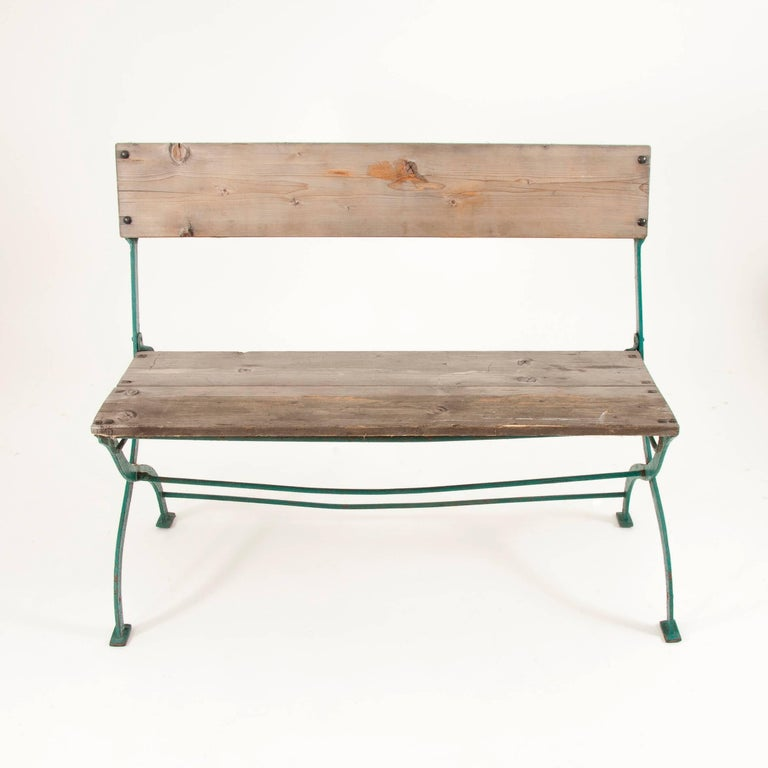 Iron Art Nouveau Secessionist Folding Metal Bench and Eight Chairs, Vienna, 1900s For Sale
