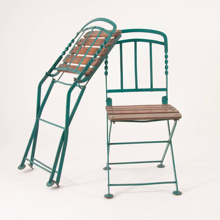 Early 20th Century Art Nouveau Secessionist Folding Metal Bench and Eight Chairs, Vienna, 1900s For Sale