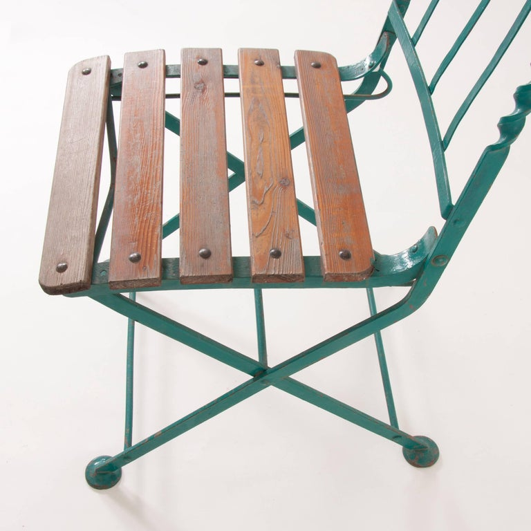 Art Nouveau Secessionist Folding Metal Bench and Eight Chairs, Vienna, 1900s In Good Condition For Sale In Vienna, AT
