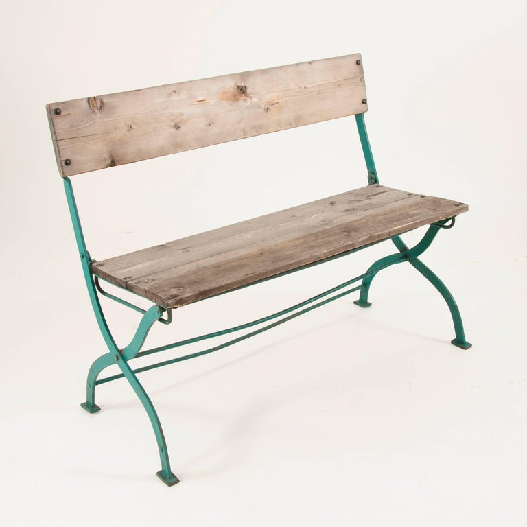 Art Nouveau Secessionist Folding Metal Bench and Eight Chairs, Vienna, 1900s For Sale 1