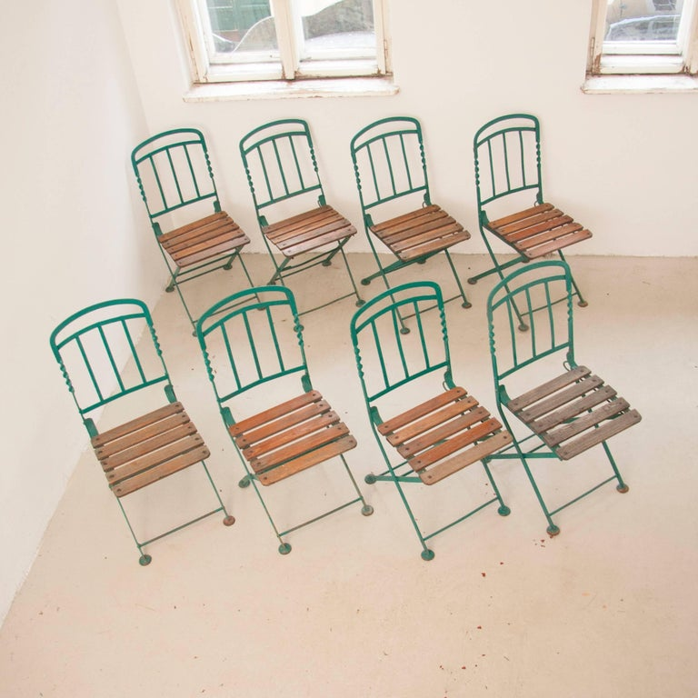 Art Nouveau Secessionist Folding Metal Bench and Eight Chairs, Vienna, 1900s For Sale 3