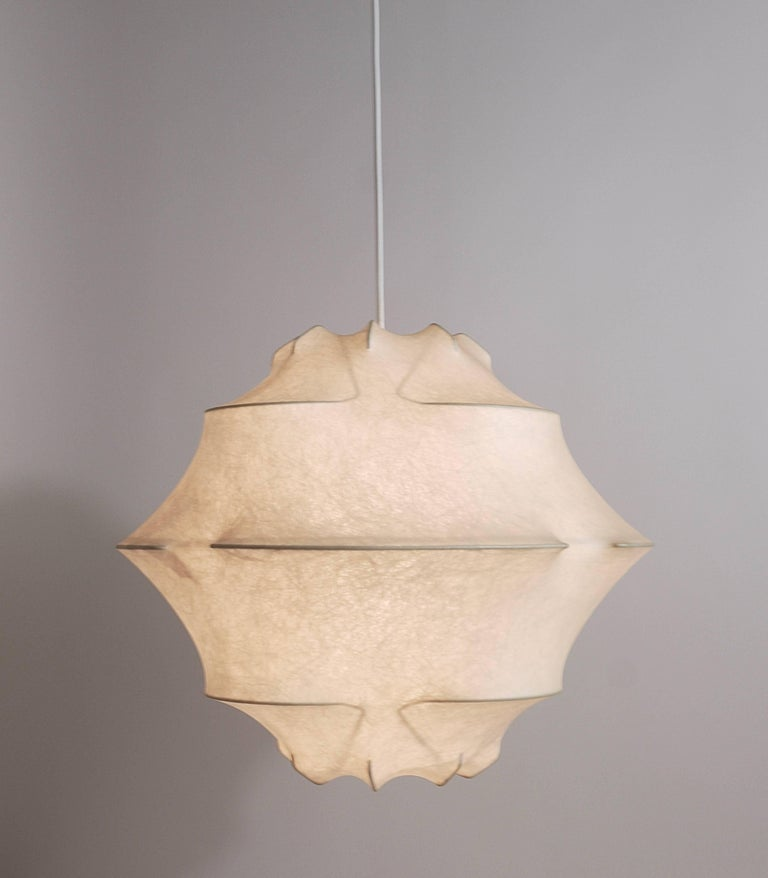 Mid-Century Modern Achille & Pier Giacomo Castiglioni Cocoon Pendant Light, Flos, Italy, 1960s For Sale