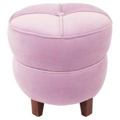 1930s Art Deco Jindirch Halabala Pink Velvet Pouf Stool Ottoman Tabouret