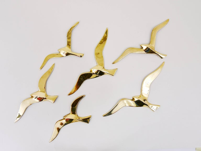 Polished Six Wall-Mounted Midcentury Seagull Bird Brass Sculptures, Austria, 1950s For Sale