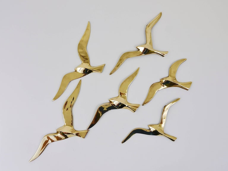 Six Wall-Mounted Midcentury Seagull Bird Brass Sculptures, Austria, 1950s In Excellent Condition For Sale In Vienna, AT