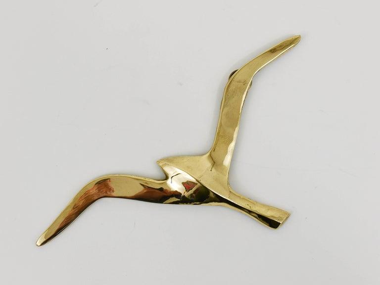 Six Wall-Mounted Midcentury Seagull Bird Brass Sculptures, Austria, 1950s For Sale 1