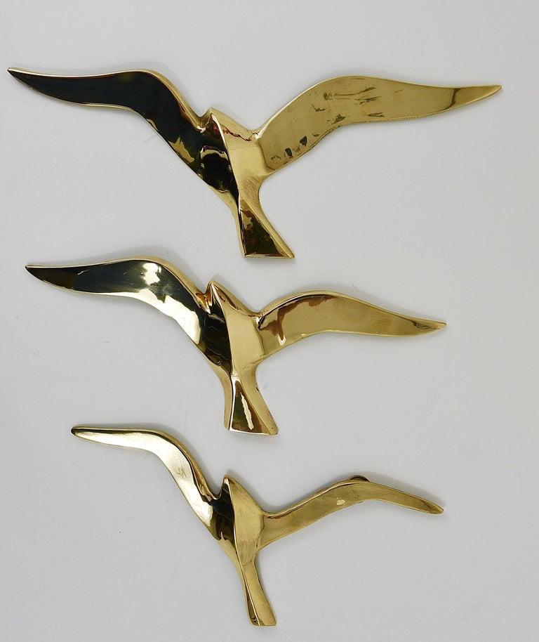 Six Wall-Mounted Midcentury Seagull Bird Brass Sculptures, Austria, 1950s For Sale 2