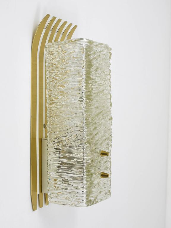 Pair of Unusual Kalmar Brass Glass Sconces, Austria, 1950s In Excellent Condition For Sale In Vienna, AT