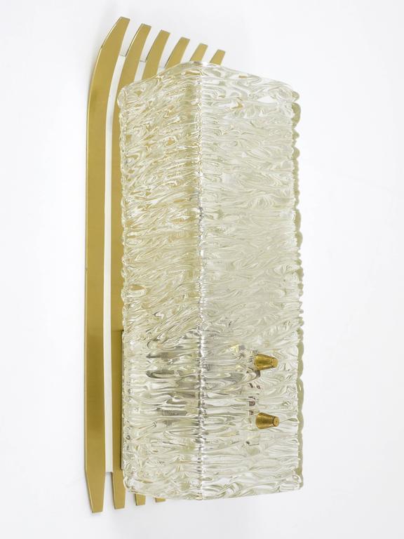 Pair of Unusual Kalmar Brass Glass Sconces, Austria, 1950s For Sale 3