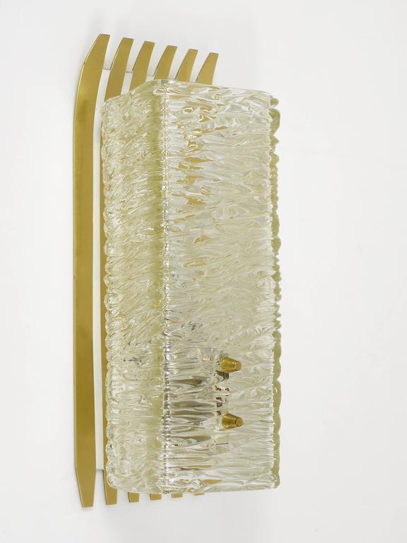 Pair of Unusual Kalmar Brass Glass Sconces, Austria, 1950s For Sale 4