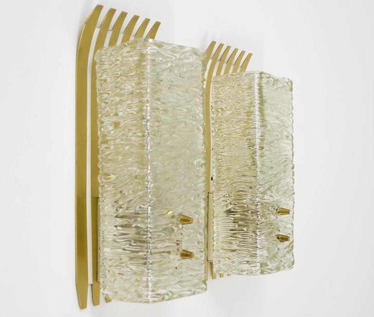 Austrian Pair of Unusual Kalmar Brass Glass Sconces, Austria, 1950s For Sale