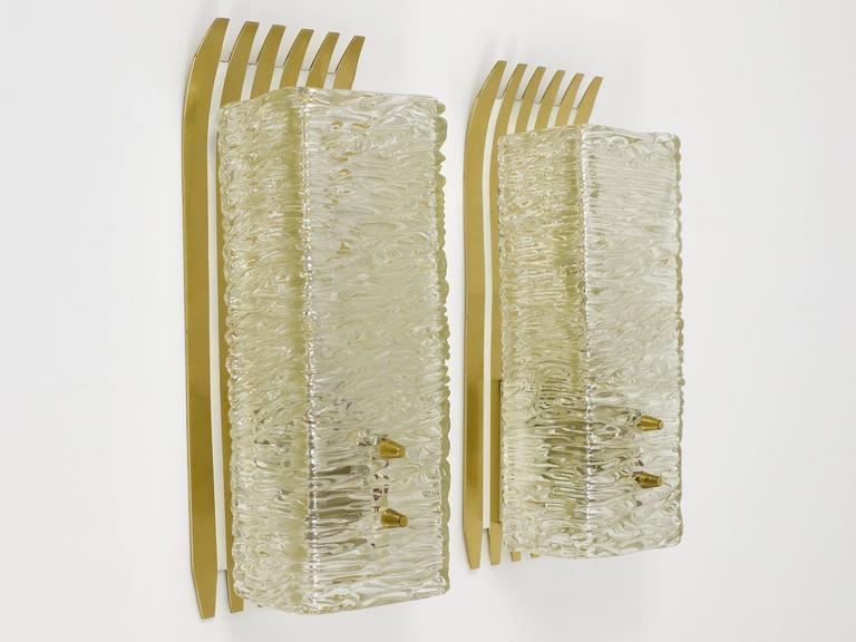 Mid-Century Modern Pair of Unusual Kalmar Brass Glass Sconces, Austria, 1950s For Sale
