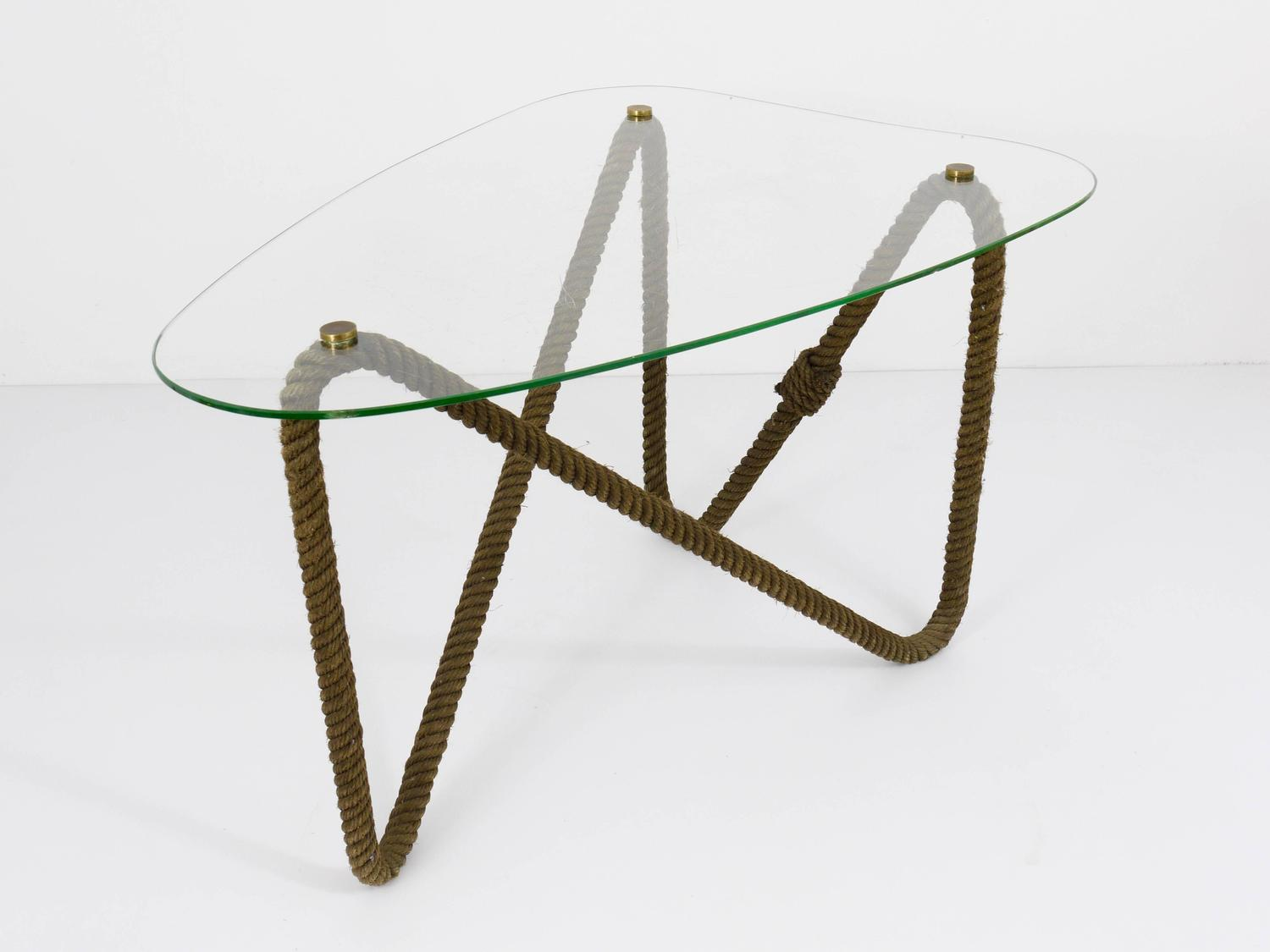 French Nautical Rope Kidney Coffee Table Side Table 1950s At 1stdibs