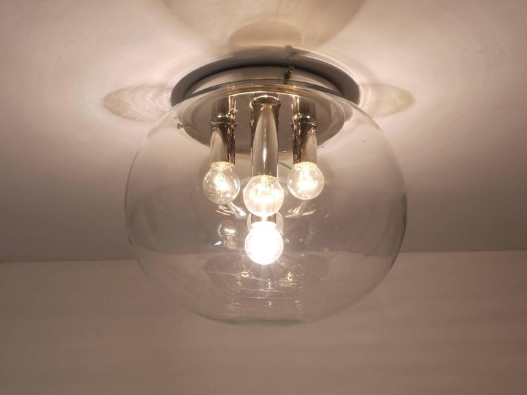 Ceiling Lights Germany : Midcentury chromed glass globe flush mount ceiling lamp