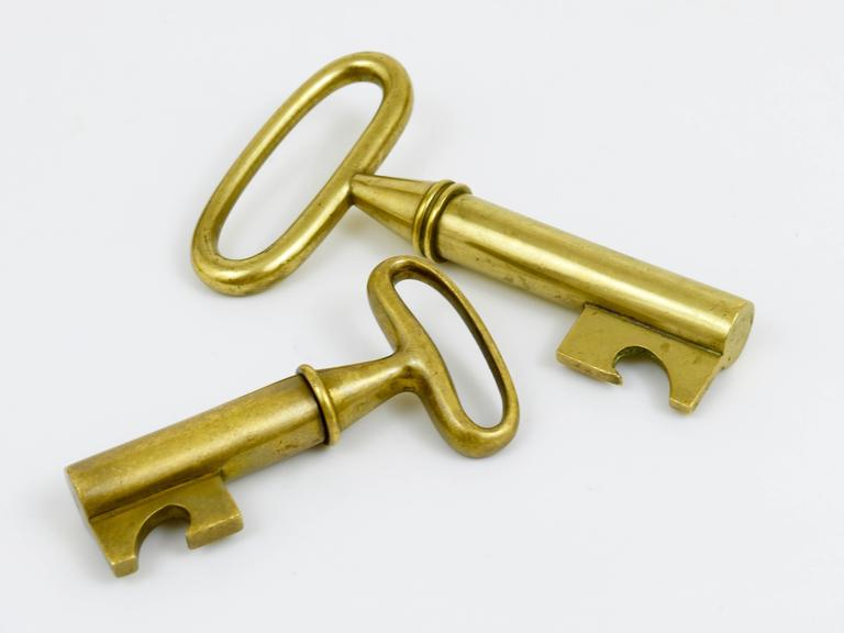 20th Century Carl Aubock Big Brass Key Cork Screw, Bottle Opener, Austria, 1950s For Sale