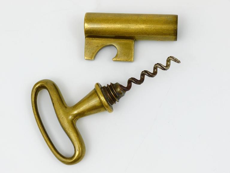 20th Century Carl Aubock Brass Key Cork Screw, Bottle Opener, Austria, 1950s For Sale