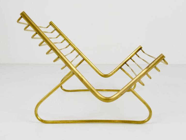 Mid-Century Modern Carl Aubock Modernist Book Stand, Brass, Austria, 1950s For Sale