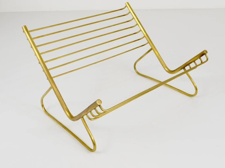 20th Century Carl Aubock Modernist Book Stand, Brass, Austria, 1950s For Sale