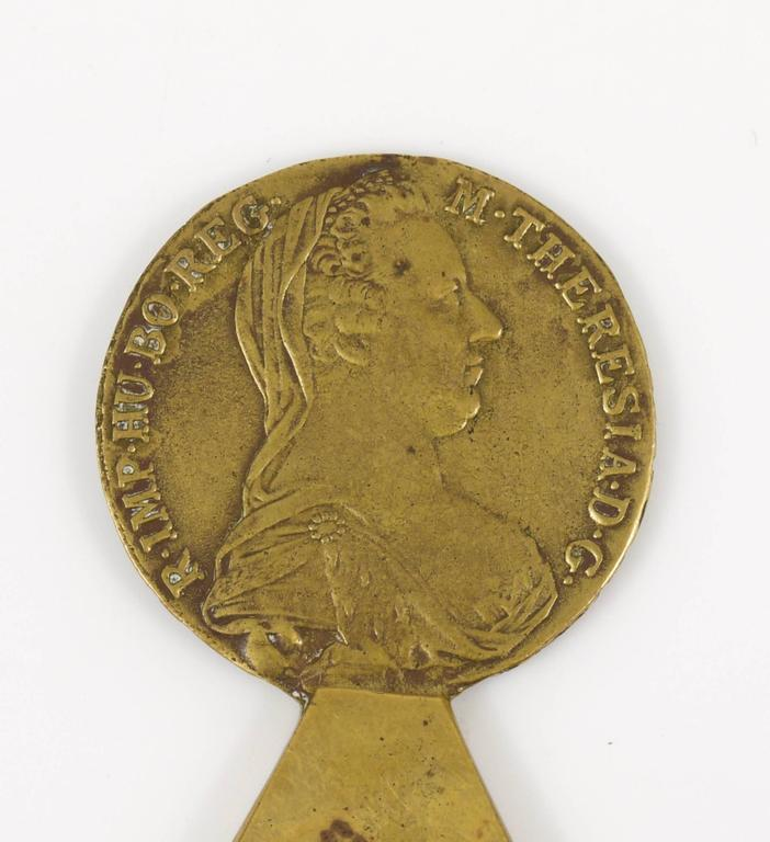 Mid-Century Modern Carl Aubock Brass Maria Theresia Coin Bottle Opener, Austria, 1950s For Sale