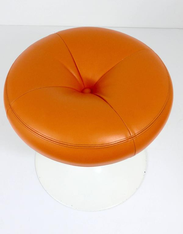 Borje Johanson Orange Tulip Base Stool 1960s Sweden At