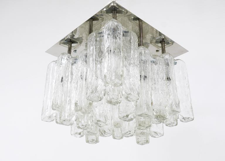 Kalmar Granada Ice Glass Flush Mount Chandelier, Austria, 1960s For Sale 3