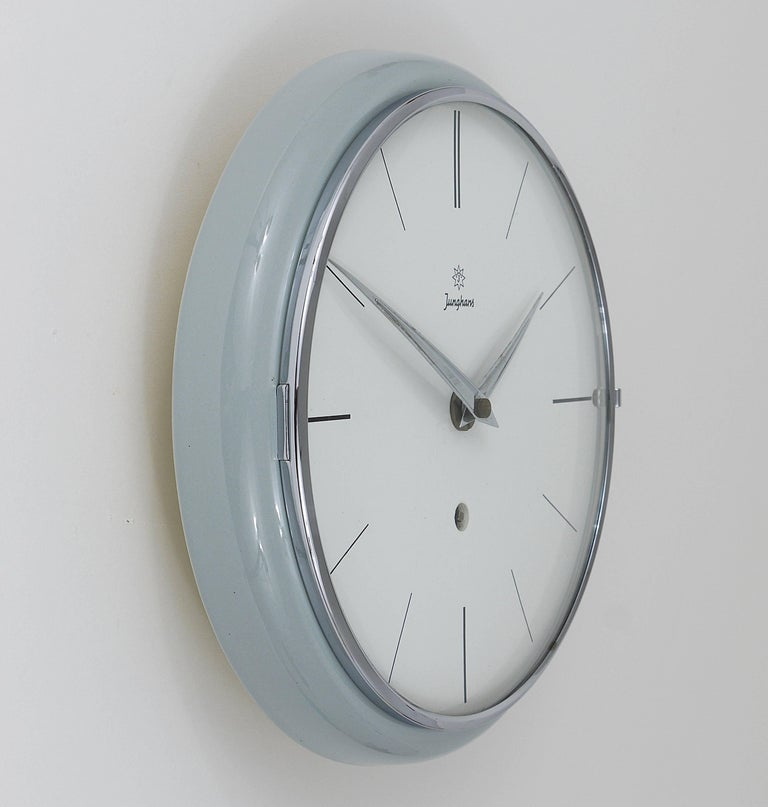 Ceramic Grey Round Junghans Midcentury Wall Clock, Germany, 1950s For Sale
