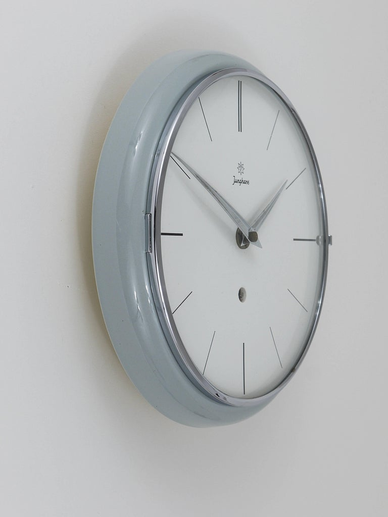 20th Century Grey Round Junghans Midcentury Wall Clock, Germany, 1950s For Sale