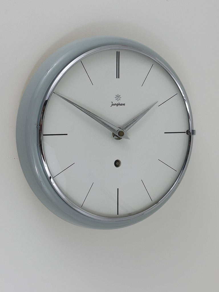Austrian Grey Round Junghans Midcentury Wall Clock, Germany, 1950s For Sale