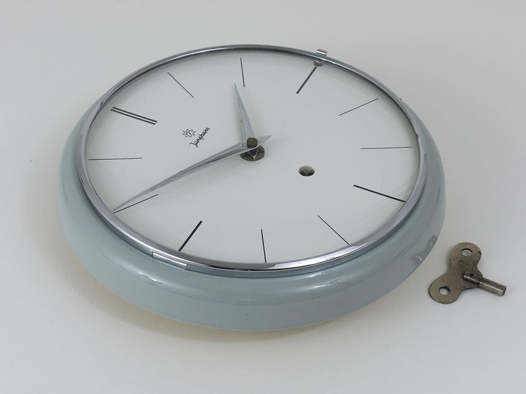 Mid-Century Modern Grey Round Junghans Midcentury Wall Clock, Germany, 1950s For Sale