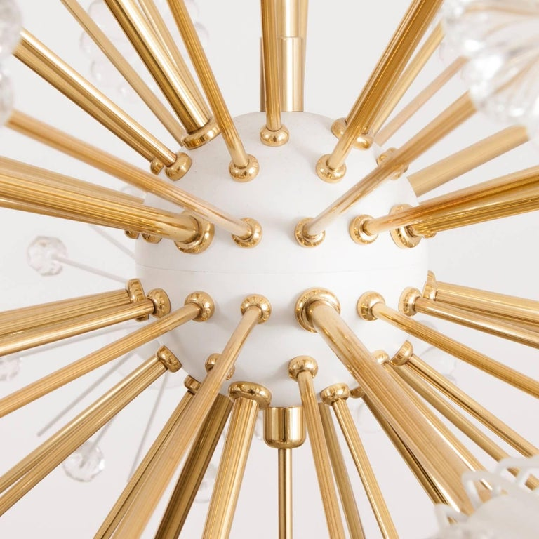 Three Identical Emil Stejnar Blowball Sputnik Brass Chandeliers by Rupert Nikoll 3
